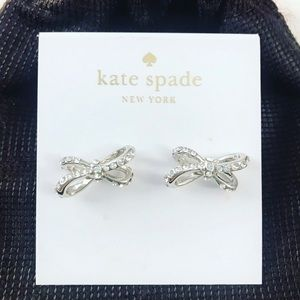 Kate Spade Silver Pave Diamond Bow Earrings